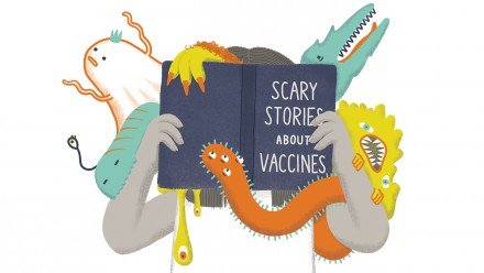 illustration of a mom reading a book titles Scary Stories about Vaccines with colourful monsters popping out